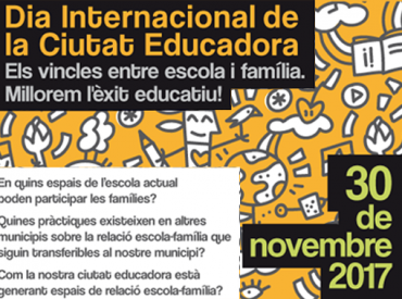 Després de més de 25 anys de recorregut, l'Associació Internacional de Ciutats Educadores(AICE), va acordar fixar el dia 30 de novembre com a Dia Internacional de la Ciutat Educadora i a Sant Boi celebrarem aquesta data amb un acte on parlarem dels vincles entre escola i família per a millorar l'èxit educatiu. És un acte […]